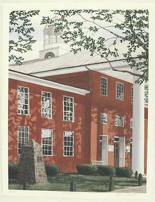 Vintage Signed Art Print LE 116/250 Robert Tuckwiller THE COURTHOUSE Red Brick