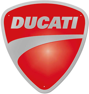 Ducati Company Logo Stampted Metal Sign Red