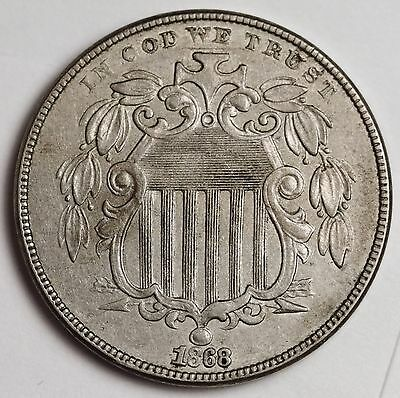 1868 Shield Nickel.  Natural A.U.-UNC.  110241