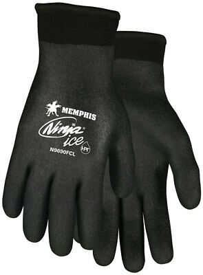 MCR Safety N9690FC Memphis Ninja Ice 15 Gauge Safety Gloves, Black (Large)