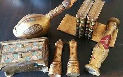 Vintage LOT OF OLD ITALIAN FLORENTINE TOLE BOX, BOOKENDS, GRINDERS, WINE BOTTLE