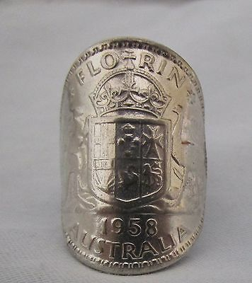 """Australian Florin,two Shilling Sterling Silver Coin Ring  1958 Size """"m"""""""