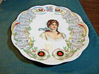 1910 Queen Louise Calendar Plate Compliments Of The People's St Louis Mo