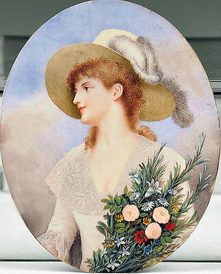 Oil painting beautiful young noble woman wearing straw hat holding nice flowers