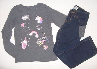 THE CHILDREN'S PLACE Girls size 5/6 6 UNICORN LATIE SHIRT JEANS BTS OUTFIT