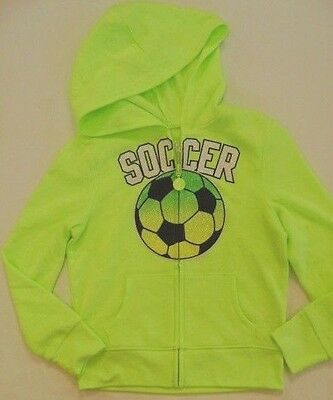 JUSTICE Girls size 5 NEON SOCCER HOODIE JACKET NWT