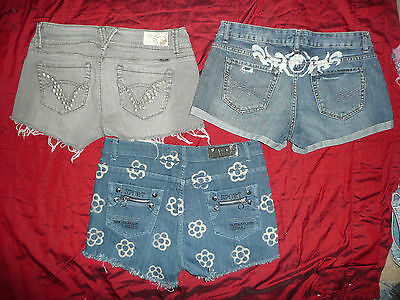 3 women's cut off shorts Size 9 / 10 **  distressed look, upcycled