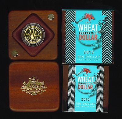 2012 Australian Wheat Sheaf Ten Dollar 1/10 oz 99.99 Gold Proof Coin W/Box & COA