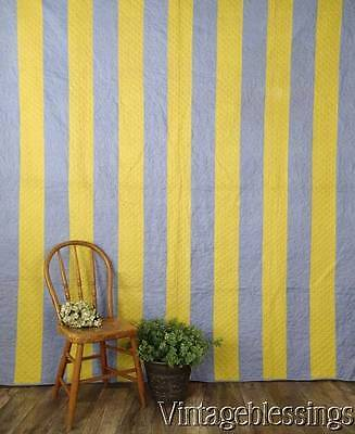 19th c Antique Calico Yellow & Lancaster Blue PA Bars QUILT 88x83""