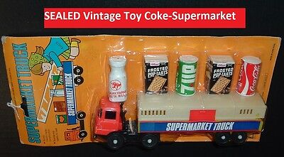 Vintage Toy Coca Cola 7-UP Old Grocery Store Truck & Items Dime Store Coke Toy
