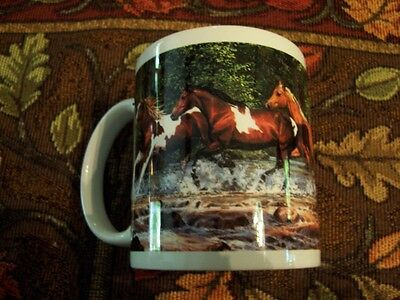 Beautiful Leanin Tree Horses Running In Creek Coffee Mug New !