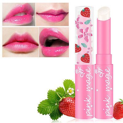 Beauty Strawberry Lip Balm Magic Temperature Changing Color Moisturizer Balm New