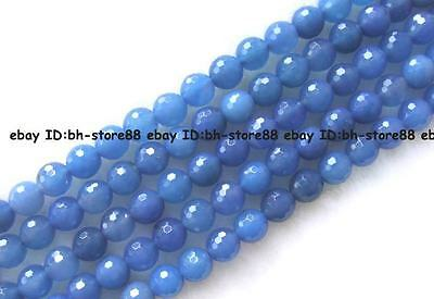 6,8,10,12mm natural blue Agate round gemstone facted Beads 15""