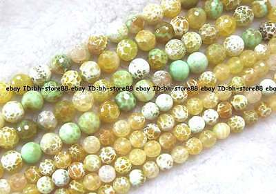 12mm18mm yelloew crackle crab Agate round faceted Beads 14.5""