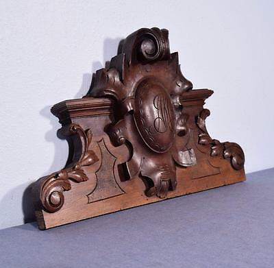"*22"" French Antique Pediment/Crest in Walnut Wood with M B Monogram"