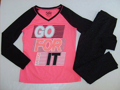 JUSTICE FG Girls size 10 10/12 GO FOR IT SHIRT LEGGINGS OUTFIT EUC NEW