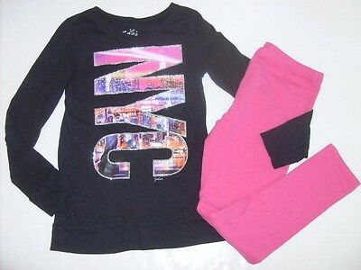 JUSTICE TCP Girls size 10 10/12 NYC TUNIC LEGGINGS OUTFIT EUC