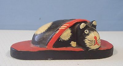 Japanese hand crafted wood cat in Japanese slipper ee