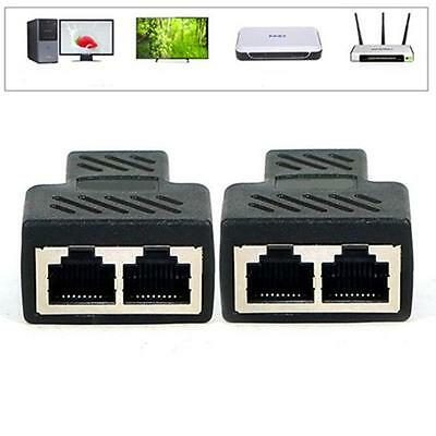1 To 2 Ways RJ45 LAN Ethernet Network Cable Female Splitter Connector Adapter BN
