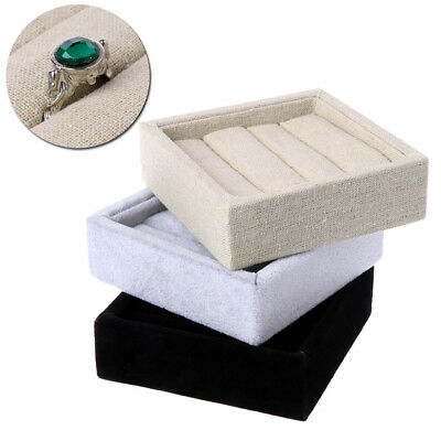 Velvet Earring Jewelry Ring Display Box Tray Holder Storage Showcase Organizer