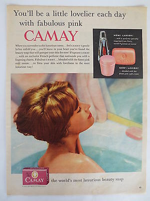 Vintage advertising original 1950s ad CAMAY BEAUTY SOAP bath cream