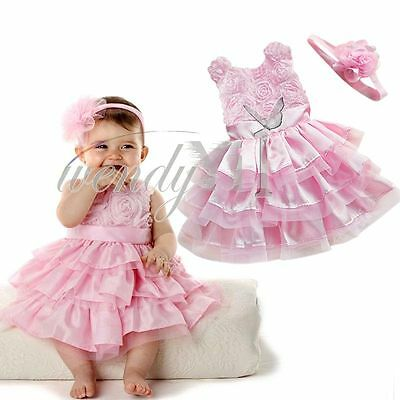 Girls Baby Infant Birthday Party Flower Tutu Dress +Headband Toddler Outfit Set