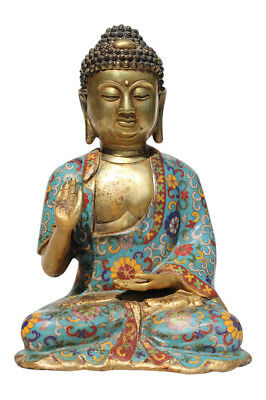 Cloisonne Buddha Figur aus Bronze. China Budda Statue - Asien, Emaille Buddah
