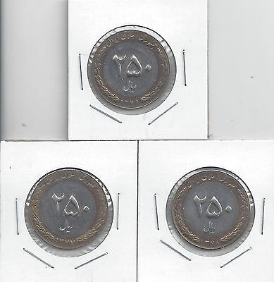 From Show Inv. - 3 BI-METAL 250 RIALS COINS from I x R x A x N (1998/1999/2000)