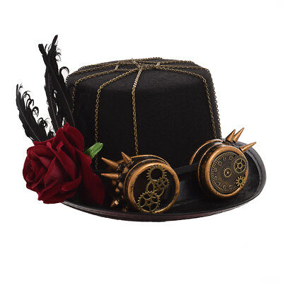 Vintage Flower Feather Steampunk Glasses Top Hat Gothic Unisex Party Black Hat