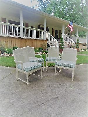 Vintage Thomasville Set of FOUR Arm Chairs Faux Bamboo & Cane Hollywood Regency