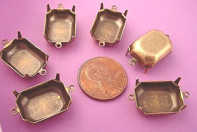 Brass Ox Antique Brass Octagon Prong Settings with 2 Rings 18x13 - 12 Pieces