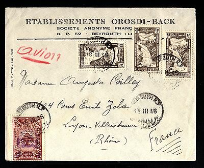 16929-LEBANON-AIRMAIL COVER BEYROUTH to LYON (france) 1946.WWII.Liban.LIBANO
