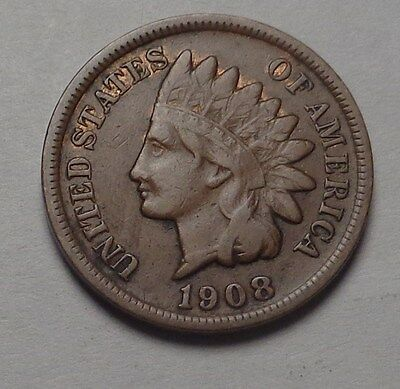 1908-S Indian Head Cent,visable Liberty,very Nice Tougher Date!!!(B)