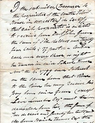 1799, Abraham Lincoln, Worcester, Mass. signed contract for shares of new school