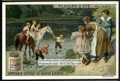 Children Riding Horses Playing In A River Au Bain c1910 Trade Ad Card
