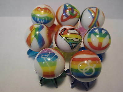 Gay Pride ect. MARBLES 5/8 SIZE LOT COLLECTION + STANDS