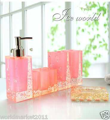 Pink Resin 5-in-1 Soap Dish/ 2Tooth Mugs/Emulsion Bottle/Toothbrush Holder
