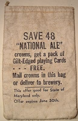RARE 1930s National Ale Baltimore Beer Bottle Cap Brewery Send away offer bag