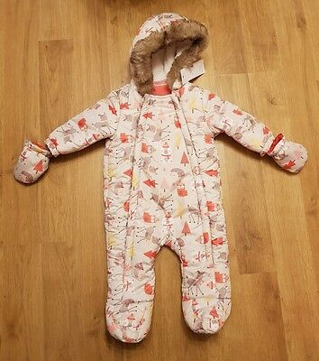 BNWT baby girls 3-6 months snowsuit pramsuit f&f NEW TAGGED