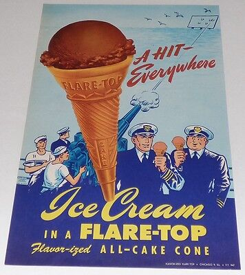 Flare-Top All Cake Ice Cream Cone 1947 Vintage Original Poster Sign Ad