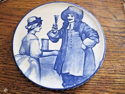 Royal Doulton Blue Mark Tavern Scene Girl Tray Man Drinking Trivet Blue & White