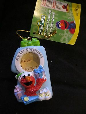 Sesame Street Elmo Baby's 1St First Christmas Blue Photo Frame Holiday Ornament
