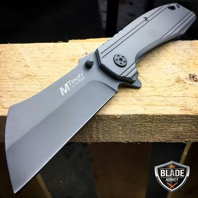 M-TECH TACTICAL Spring Assisted Open Pocket Knife CLEAVER RAZOR TITANIUM GREY -x