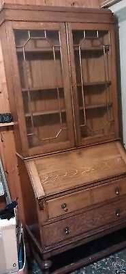 Old rustic oak bureau with display/bookcase lockable with keys, suit upcycling
