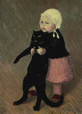 Oil painting Hand painted little girl holding her black pet cat on canvas 36""