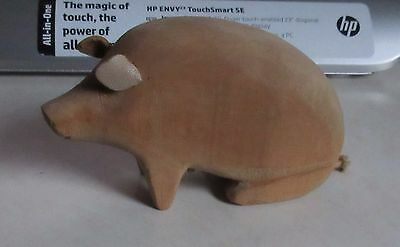 Vintage Hand Carved Wood Pig