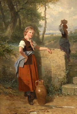 Hand painted Oil painting young girl have a rest with water pot in landscape