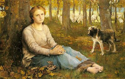 Oil painting Swan John Macallan A Shepherdess And Her Flock dog in forest scene