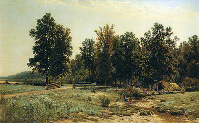 Oil painting Shishkin Ivan Ivanovich Russia At the edge of an oak Hand painted