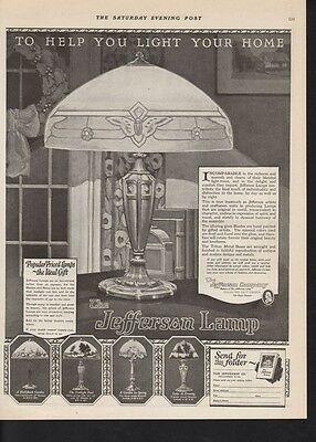 1923 Jefferson Electric Lamp Home Decor Appliance Ad 10829